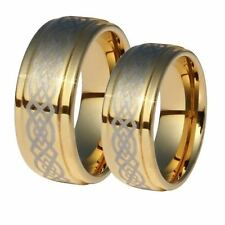 Matching Ring Set - 9mm Gold Plated Celtic Tungsten His & Her Rings Sizes 4-16