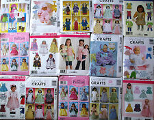 "Sewing Patterns 18"" American Doll & 11'' To 16"" Baby Doll clothes Gowns Outfits"