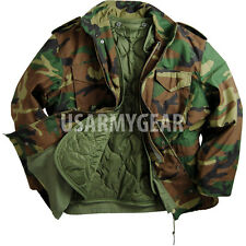 Made in USA MILITARY FIELD JACKET Woodland Fatigues ARMY COAT M65 NEW Liner.Hood