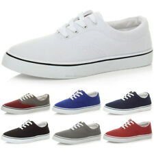 MENS CANVAS CASUAL FLAT TRAINERS PLIMSOLES PLIMSOLLS SHOES LACE UP PUMPS SIZE