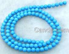 "SALE Tiny 4-4.5mm Blue Round TURQUOISE beads strand 15""-los431 Free shipping"