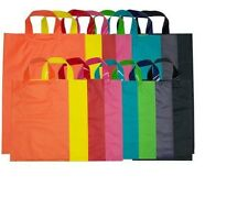 COLOURED PLASTIC CARRY BAG WITH FLEXI LOOP HANDLE x 50
