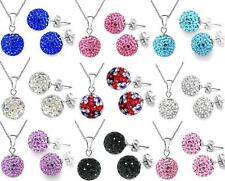 Silver Plated Chain Shamballa Necklace Stud Earrings Set CZ Crystal Disco Ball