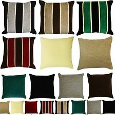 Heavyweight STRIPED or PLAIN Chenille Filled Cushions or Cushion Covers 18x18""