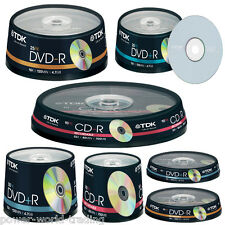 TDK CD-R 80 MIN 700MB DVD+R DVD-R 16X 120 MIN 4.7GB DISK DISCS BLANK RECORDABLE