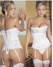 White Sexy Lace Up Boned Bustier Corset Dress Basque+Suspenders+G-string S-3XL