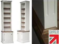 Solid Pine Bookcase, 8ft White Painted Alcove, Display Bookcase with Cupboard