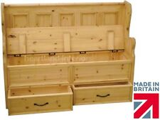 Solid Pine Monks Bench, 4ft Handcrafted Lifting Lid Shoe Storage Seat + Drawers