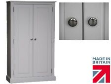 100% Solid Wood Cupboard, 5ft Tall White Painted Linen, Pantry Storage Cabinet