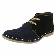 SALE Mens Tag1 blue/black suede leather lace up ankle boot AM-9911