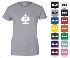 Queen Of Spades Letter Q Deck Of Cards Poker Symbol Funny Woman's T-shirt