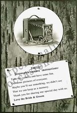 DISPOSABLE CAMERA POEM POSTCARD- WEDDING CAMERA POEM FOR TABLE- A5 or A6