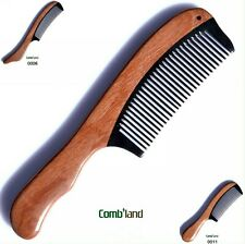 Durable swartizia wood ox horn fragrant close teeth collections gifts comb