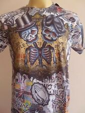 Minute Mirth Two head Skull Twin Skeleton Tattoo Retro Vintage Men T-shirt M L