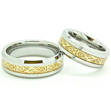 Matching 7mm 18k Gold Plated Celtic Dragon Inlay Tungsten Wedding Ring Set