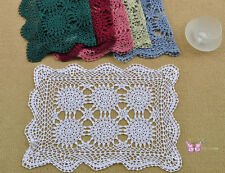 "Vintage hand Crochet Cotton Placemat 13x19"" Doily Cup Mat 6 COLORS"