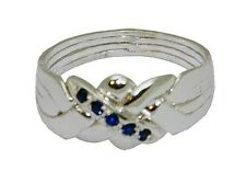 4-Band Sterling Silver Puzzle Ring with Sapphire CZ Sizes 5-11 #2504