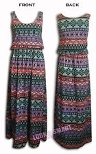 NEW WOMENS SLEEVELESS SCOOP NECK AZTEC TYE DYE PRINT MAXI DRESS SIZE 8-14 UK