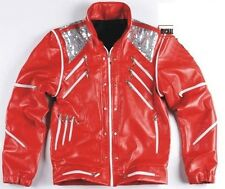 Michael Jackson MJ Costume Beat It Leather Jacket Replica Free Billie Jean Glove