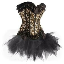 Burlesque Satin Lace up Boned Corset TUTU Set Moulin Rouge Lolita Fancy Dress