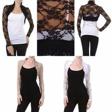 Lace Crochet BOLERO SHRUG Long Sleeve Ruffle Open Front Cardigan Jacket Top