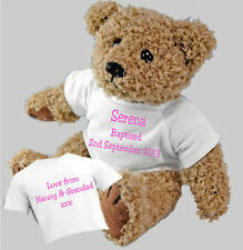 Baptism Christening Naming Ceremony Personalised Teddy Bear with a Gift Bag