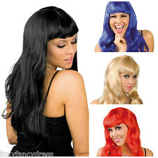 Deluxe Chique Glamour Black,Brown,Blonde,Pink, Blue, Red Wig Fancy Dress