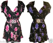 NEW LADIES WOMANS SUMMER HOLIDAY EVENING FLORAL SEXY PARTY TOP SIZE 12-26 UK