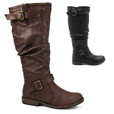 Womens Slouchy Riding Boot Buckle Decor Heel Faux Leather Bamboo Montage-02N