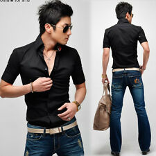 Korea Men's Button-front Short Sleeve Formal Fitted Casual Shirt Tops T-Shirts