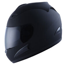 NEW Motorcycle Street Bike Adult Full Face Helmet Matt Black Size S M L XL