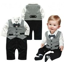 Baby Boy Wedding Check Tuxedo Suit Bowtie Romper One Piece Outfit 0-18M NEWBORN