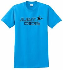 JUST RIDE WAKE BOARD T SHIRT SKATE SURF BOAT WAKEBOARD BLUE 100% COTTON