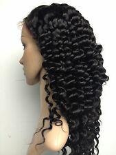 """Deep Wave 100% indian remy human hair front lace wigs 1b# natual black 8""""-22"""""""