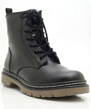 Womens Military Combat Boot Black Gum Round Toe Zipper Lace Up PU-Leather Riding
