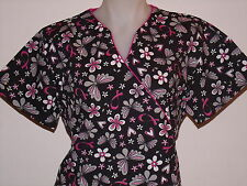 XS S M L XL 2XL BREAST CANCER PINK WHITE GRAY BLACK HEARTS BUTTERFLY SCRUB TOP