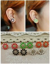 Simple Bloomy Fluorescent Flower Clear Crystal Lady Dangle Earrings 5 Color