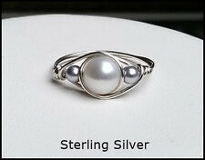 Sterling Silver Wire Wrapped Fresh Water Pearl Ring, Sizes 6-10 1/2