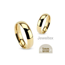 Stainless Steel (316L) 18K GP Comfort Fit  5mm Classic Wedding Ring Band. HJ02-5