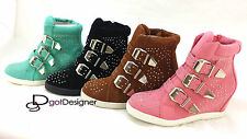 NEW Womens Shoes Ankle Wedge Heel Sneaker Boots High Top Shoe Suede Sz 5.5-10