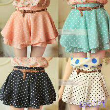 Hot Pleated Polka Dot Chiffon Divided Skirt Shorts Short Pants Culottes w/Belt