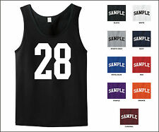 Number 28 Twenty Eight Sports Number Jersey Tank Top Front Print