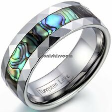 8mm Unisex Tungsten Carbide Ring w Abalone Shell Inlay Beveled Edge Wedding Band