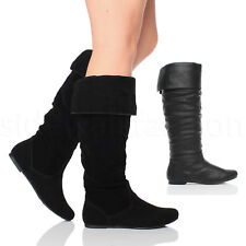 WOMENS LADIES FLAT CUFF RIDING KNEE HIGH PULL ON SLOUCH WINTER CALF BOOTS SIZE