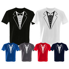 TUXEDO SUIT BOW TIE FANCY DRESS STAG DO PARTY NIGHT T SHIRT ALL SIZES 6 COLOURS