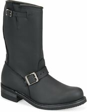 "Men's Carolina Boots 902 12"" Motorcycle Engineer Plain Black Oiled Leather Reg"