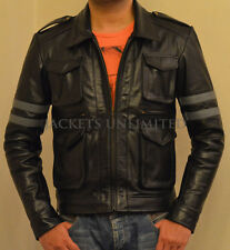 RE6 RESIDENT EVIL 6 LEON KENNEDY'S BLACK LEATHER JACKET ALL SIZE + Custom Made