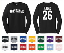 Mustangs Custom Personalized Name & Number Long Sleeve Jersey T-shirt