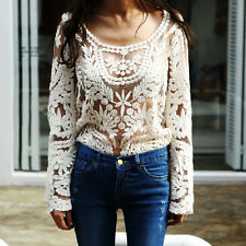 Women Semi Sexy Sheer Long Sleeves Embroidery Floral Lace Crochet Top Blouse