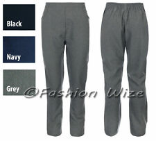 Girls Half Elastic School Trousers Black Grey Navy